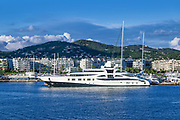 Super yacht dockin the harbor in Ibiza, Eivissa, Balearic Islands,  Spain.