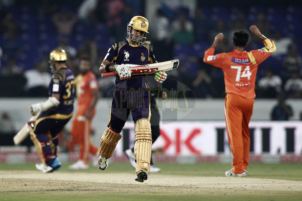 Gautam Gambhir captain of the Kolkata Knight Riders during match 7 of the Oppo Champions League Twenty20 between the Kolkata Knight Riders and the Lahore Lions held at the Rajiv Gandhi Cricket Stadium, Hyderabad, India on the 21st September 2014<br /> <br /> Photo by:  Deepak Malik / Sportzpics/ CLT20<br /> <br /> <br /> Image use is subject to the terms and conditions as laid out by the BCCI/ CLT20.  The terms and conditions can be downloaded here:<br /> <br /> http://sportzpics.photoshelter.com/gallery/CLT20-Image-Terms-and-Conditions-2014/G0000IfNJn535VPU/C0000QhhKadWcjYs