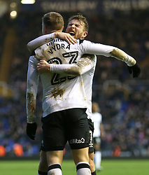 Derby County's Matej Vydra celebrates scoring his side's second goal of the game with Sam Winnall (facing)