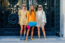 Street style, Jeanette Friis Madsen, Emili Sindlev and Thora Valdimars arriving at Paco Rabanne spring summer 2019 ready-to-wear show, held at Grand Palais, in Paris, France, on September 27th, 2018. Photo by Marie-Paola Bertrand-Hillion/ABACAPRESS.COM