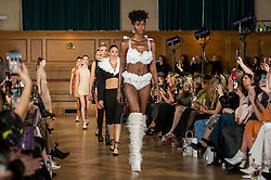 © Licensed to London News Pictures. 13/02/2020. LONDON, UK. Models wear creations by Chanel Joan Elkayam at her AW20 showcase at Cecil Sharp House in Camden during London Fashion Week AW20.  Chanel Joan Elkayam is the youngest designer to have presented at the four major venues of London, Paris, Milan and New York.  Photo credit: Stephen Chung/LNP