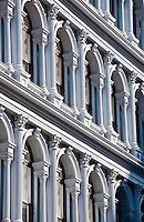 New York, New York City. Side-angle view of the facade of the  blue cast iron building.