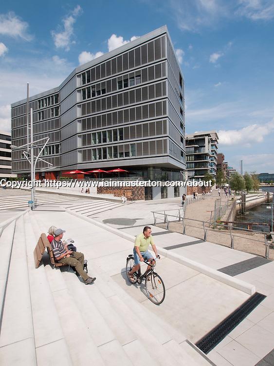 Modern apartment buildings at Vasco Da Gamma Platz in new Hafencty property development in Hamburg Germany