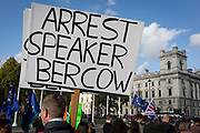 "Twenty-four hours day after the House of Commons Speaker John Bercow refused a government request to hold a ""yes"" or ""no"" vote on its Brexit deal, a Brexiteer's placard calls for his arrest, on 22nd October 2019, in London, England. Bercow had said a motion on the deal had been brought before MPs on (Super) Saturday when MPs had sat (to vote for Boris Johnson's Brexit deal), for the first time in 37 years, saying it would be ""repetitive and disorderly"" to debate it again. Bercow has also historically been accused of bias by Conservatives and Brexit supporters."