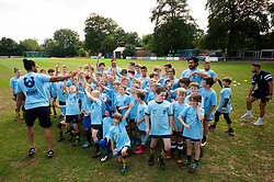 Chris Vui hands out high fives at the Bristol Bears Community Foundation Summer Holiday Camp at Old Bristolians RFC - Mandatory by-line: Dougie Allward/JMP - 15/08/2018 - Rugby