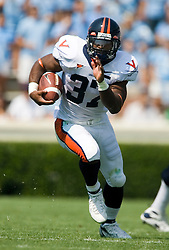 Virginia running back Cedric Peerman (37) rushed for a career-high 186 yards against UNC.  The North Carolina Tar Heels football team faced the Virginia Cavaliers at Kenan Memorial Stadium in Chapel Hill, NC on September 15, 2007.  UVA defeated UNC 22-20.