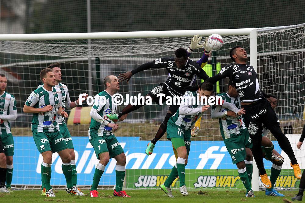 12.4.2015, Kisapuisto, Lahti.<br /> Veikkausliiga 2015.<br /> FC Lahti - FC KTP.<br /> Hassan Sesay &amp; Leandro Matheus Alves (FC Lahti) Jere Pyh&auml;rannan (KTP) maalilla. Alimpana Ilari &Auml;ij&auml;l&auml;, kotkalaiset vasemmalla Valeri Minkenen,. Shane McFaul &amp; Josh Mulvany.