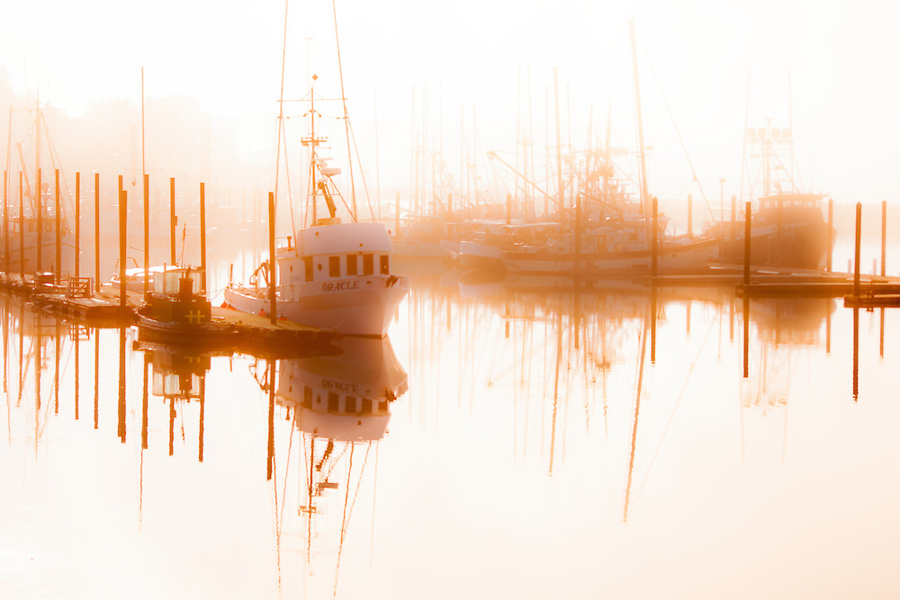 Misty morning fishing boats at Newport Oregon