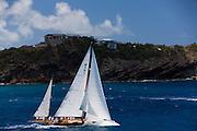 Galatea sailing the Old Road Race at the Antigua Classic Yacht Regatta.
