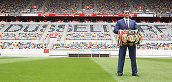21.07.2015, Esprit Arena, Düsseldorf, GER, WBA Boxkampf, Wladimir Klitschko vs Tyson Fury, Pressekonferenz, im Bild Wladimir Klitschko auf dem Rasen der ESPRIT Arena mit seinen Weltmeisterguerteln // during a pressconference of the WBA fight between Wladimir Klitschko and Tyson Fury at Esprit Arena in Düsseldorf, Germany on 2015/07/21. EXPA Pictures © 2015, PhotoCredit: EXPA/ Eibner-Pressefoto/ Schüler<br /> <br /> *****ATTENTION - OUT of GER*****
