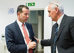 Enzo Smrekar, president of SZS and Janez Vodicar during meeting of Executive Committee of Ski Association of Slovenia (SZS) on March 10, 2014 in SZS, Ljubljana, Slovenia. Photo by Vid Ponikvar / Sportida