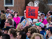 "16 APRIL 2019 - DES MOINES, IOWA: A supporter of Mayor Pete Buttigieg, the mayor of South Bend, Indiana, holds up a ""Team Pete"" sign during a Buttigieg rally in Des Moines. ""Mayor Pete,"" as he goes by, declared his candidacy to be the Democratic nominee for the US Presidency on April 14. About 1,000 people attended his first rally in Iowa since officially declaring his candidacy. Iowa traditionally hosts the the first selection event of the presidential election cycle. The Iowa Caucuses will be on Feb. 3, 2020.                PHOTO BY JACK KURTZ"