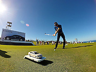 January 10 2015:  Camilo Villegas hits his tee shot on number eleven during the Second Round of the Hyundai Tournament of Champions at Kapalua Plantation Course on Maui, HI.