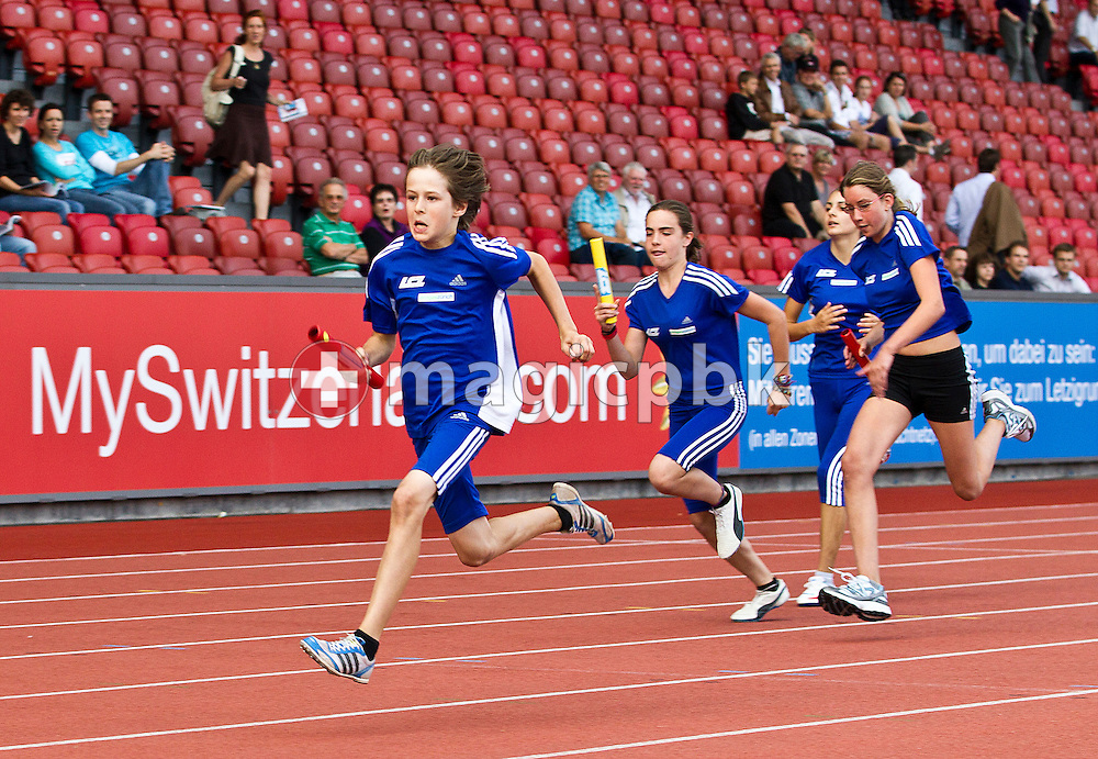Young athletes compete in the LC Zurich Relay during the IAAF Diamond League meeting at the Letzigrund Stadium in Zurich, Switzerland, Thursday, Aug. 19, 2010. (Photo by Patrick B. Kraemer / MAGICPBK)