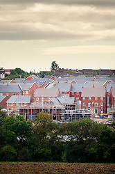 New housing development expanding into the surrounding countryside, Hamilton, Leicestershire, England, United Kingdom.