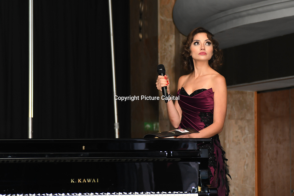X-Factor, UK Star, Irina Dedyuk and presenter performs at the Grand Final MISS USSR UK 2019 at Hilton hotel London on 27 April 2019, London, UK.