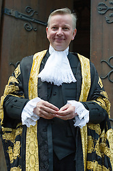 © London News Pictures. 19/05/15. London, UK. The Lord Chancellor Michael Gove arrives robed for his swearing in ceremony as the Lord Chancellor, Royal Courts of Justice, Central London. Photo credit: Laura Lean/LNP/05/15.