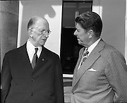 President DeValera Welcomes Governor Reagan..1972..18.07.1972..07.18.1972..18th July 1972..On his visit to Ireland,Governor Ronald Reagan of California,was greeted at Áras an Uachtaráin by the President, Mr Eamon DeValera. Governor Reagan was accompanied by his wife Nancy...Pictured on the steps of Áras an Uachtaráin,President Eamon Devalera and Governor Ronald Reagan in conversation.