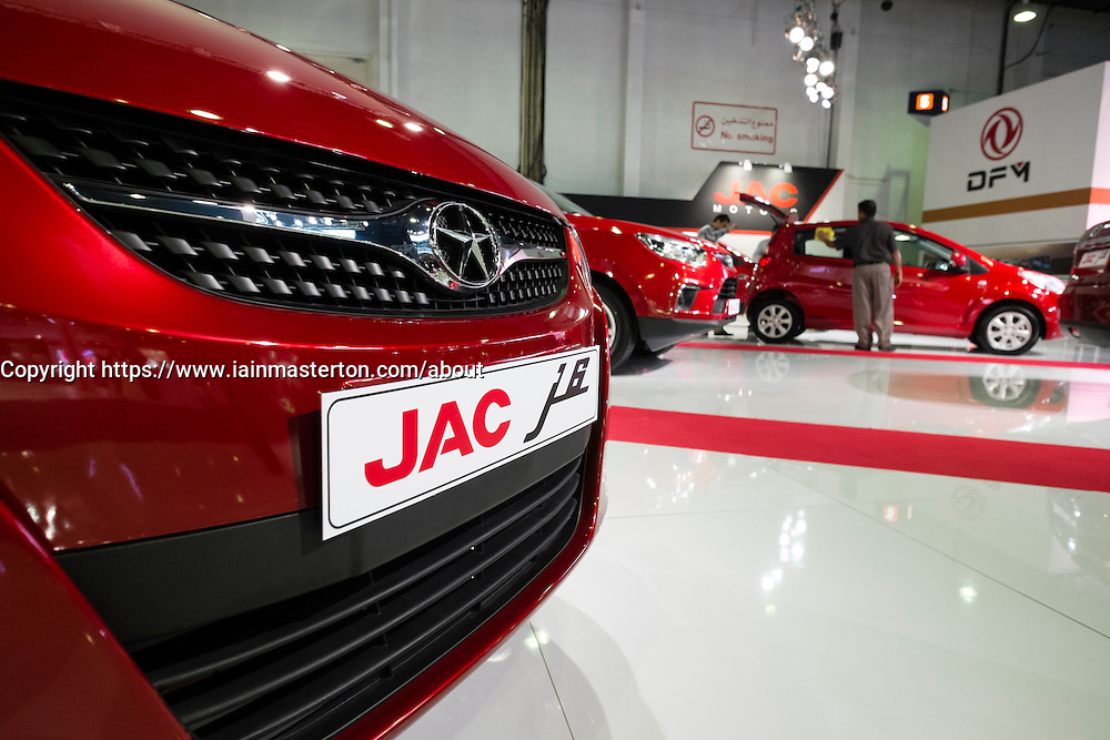 Chinese made JAC cars at the Dubai Motor Show 2013 United Arab Emirates