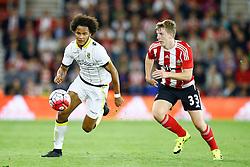 Isaiah Brown of Vitesse Arnhem under pressure form Matt Targett of Southampton - Mandatory by-line: Jason Brown/JMP - Mobile 07966386802 - 31/07/2015 - SPORT - FOOTBALL - Southampton, St Mary's Stadium - Southampton v Vitesse Arnhem - Europa League