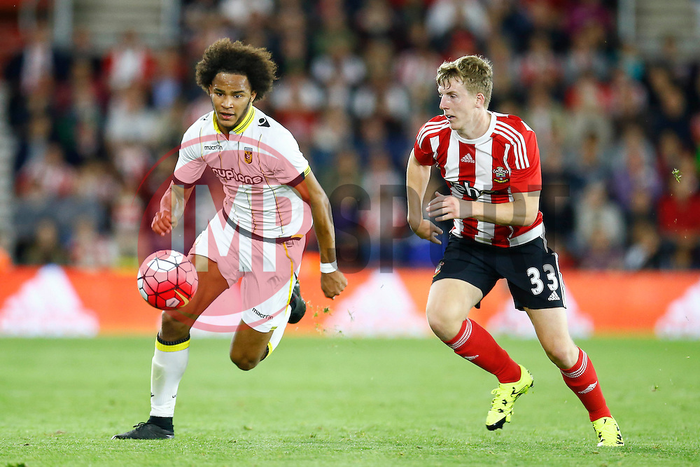 Isaiah Brown of Vitesse Arnhem under pressure form Matt Targett of Southampton - Mandatory by-line: Jason Brown/JMP - Mobile 07966386802 - 31/07/2015 - SPORT - FOOTBALL - Southampton, St Mary's Stadium - Southampton v Vitesse Arnhem - Europa League