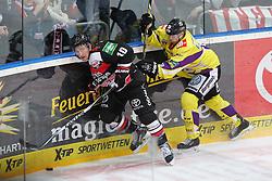 25.11.2014, Lanxess-Arena, Köln, GER, DEL, Koelner Haie vs Krefeld Pinguine, 25. Runde, im Bild James Johnson (Koeln) im Zweikampf Herberts Vasiljevs (Krefeld) // during Germans DEL Icehockey League 25th round match between Koelner Haie and Krefeld Pinguine at the Lanxess-Arena in Köln, Germany on 2014/11/25. EXPA Pictures © 2014, PhotoCredit: EXPA/ Eibner-Pressefoto/ Weiss<br /> <br /> *****ATTENTION - OUT of GER*****