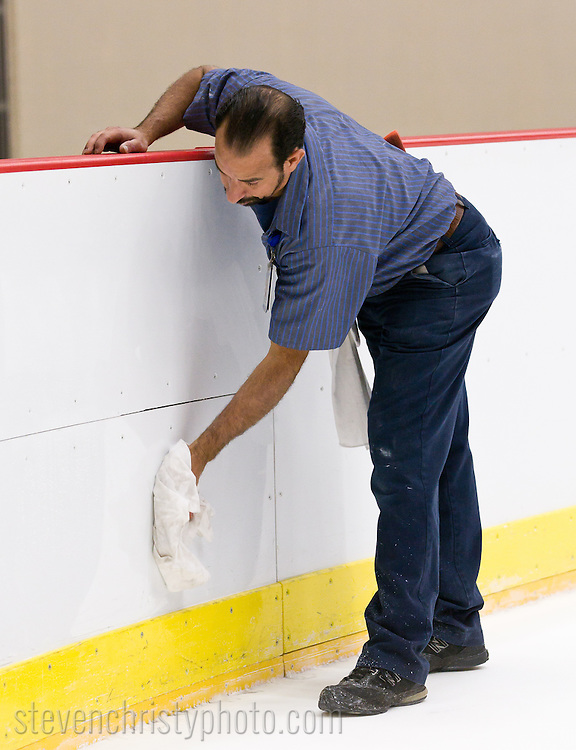 September 19, 2011: The ice is installed in the Cox Convention Center in preparation for the Oklahoma City Barons 2011-2012 season.  In addition, team signage is installed on the south side of the building.