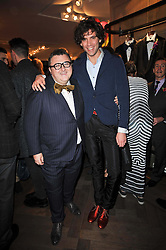 Left to right, ALBER ELBAZ and singer MIKA  at the launch party of 'Songs For Sorrow' hosted by Alber Elbaz and Mika held at Lanvin, 32 Savile Row, London on 11th November 2009.