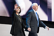 Vice President Mike Pence and his wife Karen Pence at the 2017 American Israel Public Affairs Committee (AIPAC) Policy Conference in Washington, D.C.