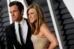 Justin Theroux, Jennifer Aniston in attendance for 2015 Vanity Fair Oscar Party Hosted By Graydon Carter at Wallis Annenberg Center for the Performing Arts on February 22, 2015 in Beverly Hills, California. EXPA Pictures © 2015, PhotoCredit: EXPA/ Photoshot/ Dennis Van Tine<br /> <br /> *****ATTENTION - for AUT, SLO, CRO, SRB, BIH, MAZ only*****