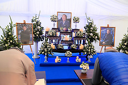 Mourners sign a book of condolence for Leicester Chairman Vichai Srivaddhanaprabha at Leicester City Football Club.
