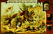 Frederick Barbarossa (1122-1190) King of Germany from 1152.  Barbarossa defeating the Seljuk Turks at the Battle of Iconium, 1190, on the Third Crusade. 19th century chromolithograph.