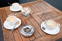 Close up of Coffee Cups on table in London, UK