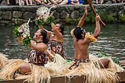"A dance of Fiji in the Canoe Pageant, ""Rainbows of Paradise."" The Polynesian Cultural Center (PCC) is a major theme park and living museum, in Laie on the northeast coast (Windward Side) of the island of Oahu, Hawaii, USA. The PCC first opened in 1963 as a way for students at the adjacent Church College of Hawaii (now Brigham Young University Hawaii) to earn money for their education and as a means to preserve and portray the cultures of the people of Polynesia. Performers demonstrate Polynesian arts and crafts within simulated tropical villages, covering Hawaii, Aotearoa (New Zealand), Fiji, Samoa, Tahiti, Tonga and the Marquesas Islands. The PCC is run by the Church of Jesus Christ of Latter-day Saints (LDS Church). For this photo's licensing options, please inquire."