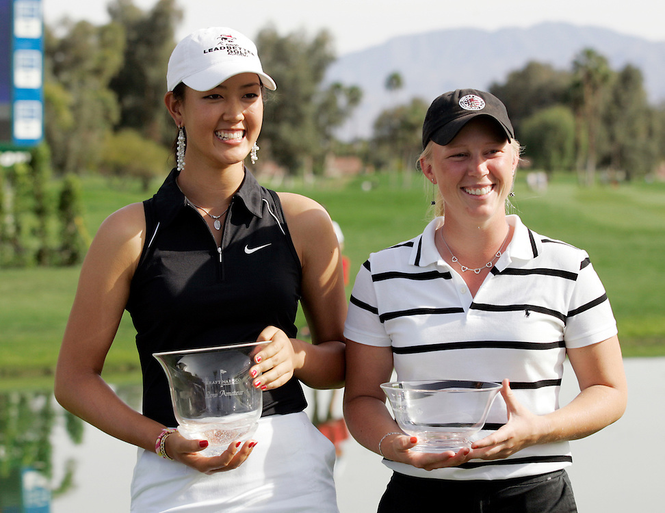 Michelle Wie playing as an amateur at the Kraft Nabisco Championship, the first major for the LPGA, in March, 2005. Wie, only 15, is expected to dominate the women's professional tour in the future and is looking at millions of dollars in endorsements when she turns pro. After the tournament with fellow amateur Morgan Pressel.