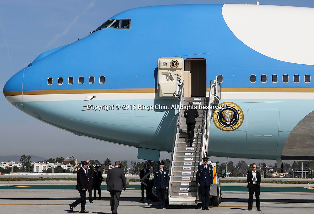 President Barack Obama walks up the stairs as he boards Air Force One at Los Angeles International Airport in Los Angeles, Friday, Feb 12, 2016, en route to Palm Springs in advance of a summit of Asian leaders on Monday and Tuesday, which the president will host at Sunnylands resort in Rancho Mirage. Obama will be joined by Secretary of State John Kerry at Sunnylands for the gathering of leaders from the Association of Southeast Asian Nations. The summit is aimed at strengthening the new U.S.-ASEAN strategic partnership, forged last November during a presidential trip to Malaysia. (Photo by Ringo Chiu/PHOTOFORMULA.com)<br /> <br /> Usage Notes: This content is intended for editorial use only. For other uses, additional clearances may be required.