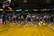 Hampton Blue Thunder Cheer Squad perform during the 2012 MEAC Basketball Tournament held at the Lawrence Joel Memorial Coliseum in Winston-Salem, North Carolina.  March 06, 2012  (Photo by Mark W. Sutton)