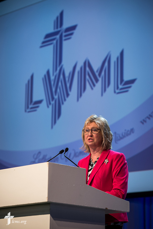Patti Ross from Lutheran Women's Missionary League, gives greetings on Wednesday, July 13, 2016, at the 66th Regular Convention of The Lutheran Church–Missouri Synod, in Milwaukee. LCMS/Frank Kohn