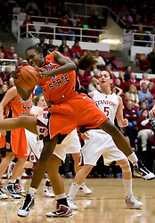 February 20, 2010; Stanford, CA, USA;  Oregon St. Beavers forward El Sara Greer (34) grabs a rebound during the second half against the Stanford Cardinal at Maples Pavilion.  Stanford defeated Oregon State 82-48.