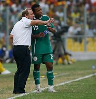 Photo: Steve Bond/Richard Lane Photography.<br />Ghana v Nigeria. Africa Cup of Nations. 03/02/2008. Bertie Vogts instructs Uche Ikechukwu