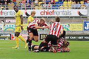 Aaron Downes celebrates his goal during the Vanarama National League match between Torquay United and Cheltenham Town at Plainmoor, Torquay, England on 29 August 2015. Photo by Antony Thompson.
