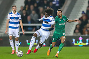 Queens Park Rangers midfielder Eberechi Eze (10) tussles with Sheffield Wednesday midfielder Jacob Murphy (14) during the The FA Cup match between Queens Park Rangers and Sheffield Wednesday at the Kiyan Prince Foundation Stadium, London, England on 24 January 2020.