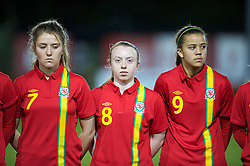 NEWTOWN, WALES - Friday, February 1, 2013: Wales' Amy Wathan, Rachel Hignett and Shannelle Edwards line up before the Women's Under-19 International Friendly match against Norway at Latham Park. (Pic by David Rawcliffe/Propaganda)