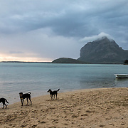 View of Le Morne Mountain from a beach along the Southern Coast of Mauritius.