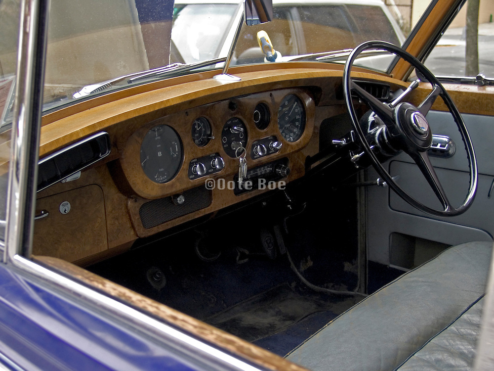 dashboard of an old Rolls Royce car