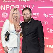 NLD/Amsterdam/201702013- Edison Pop Awards 2017, Roxeanne Hazes en partner Erik Zwennes