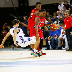 GB men vs Puerto Rico basketball at the Copper Box Arena. Devon van Oostrum (06) knocked over on defence. 11/08/2013 (c) MATT BRISTOW