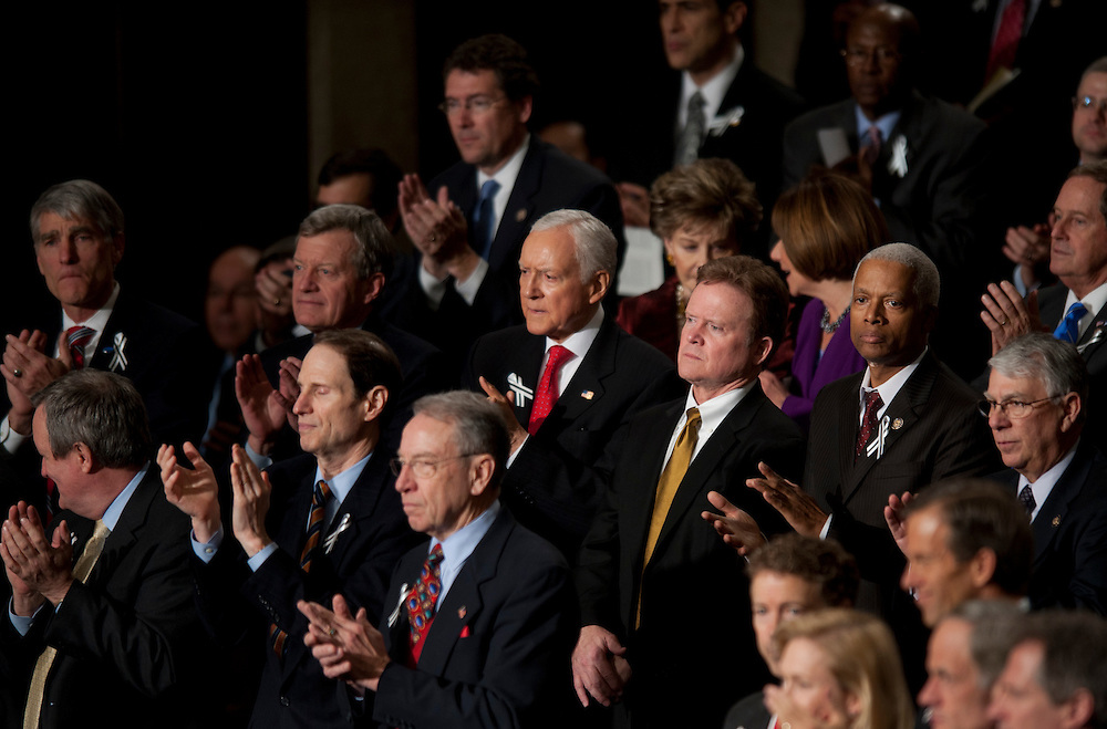 Jan 25, 2011 - Washington, District of Columbia, U.S. - Senator JIM WEBB (D-VA) stands with members of the Republican Party as they greet President Barack Obama before he delivers the 2011 State of the Union Address in the chamber of the United States House of Representatives Tuesday night.(Credit Image: © Pete Marovich/ZUMA Press)