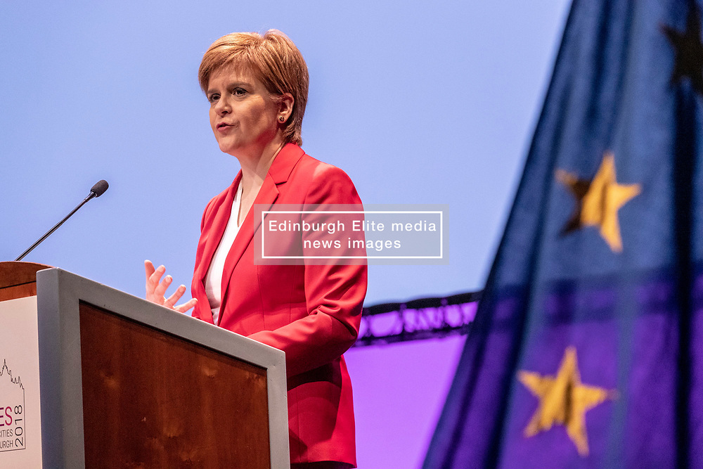First Minister of Scotland, Nicola Sturgeon takes part in the conference closing session of Eurocities 2018.<br /> <br /> She shares the stage with Young Ambassadors as they reflect on their conclusions from the three day conference in a session chaired by BBC journalist Allan Little.<br /> <br /> Established in 1986, EUROCITIES is the network of major European cities, bringing together local governments that are responsible for 130 million citizens across 39 countries. Over 500 delegates from 120 cities are taking part in the event, including 70 Young Ambassadors. The theme of the conference is exploring how culture and creativity can deliver successful, inclusive and prosperous cities that enrich the quality of citizens' lives.