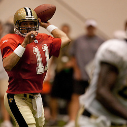 08 August 2009: Quarterback Mark Brunell (11) passes the ball during the New Orleans Saints annual training camp Black and Gold scrimmage held at the team's indoor practice facility in Metairie, Louisiana.